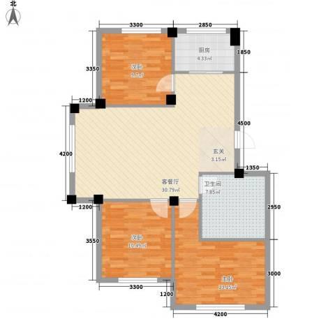 东盛嘉园3室1厅1卫1厨106.00㎡户型图