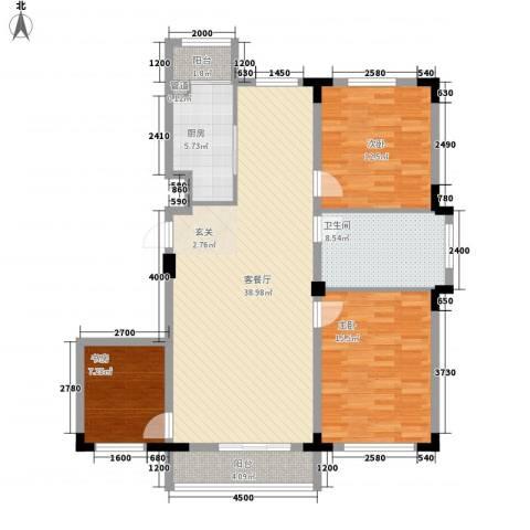 东盛嘉园3室1厅1卫1厨133.00㎡户型图