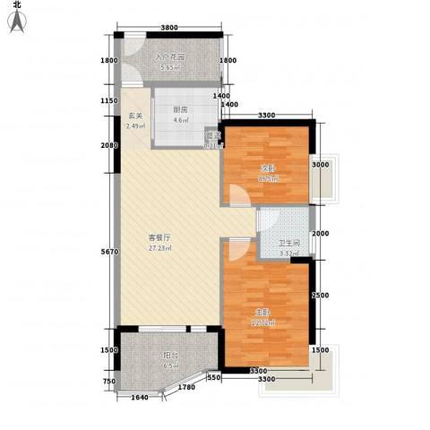 香樟国际.2室1厅1卫1厨89.00㎡户型图