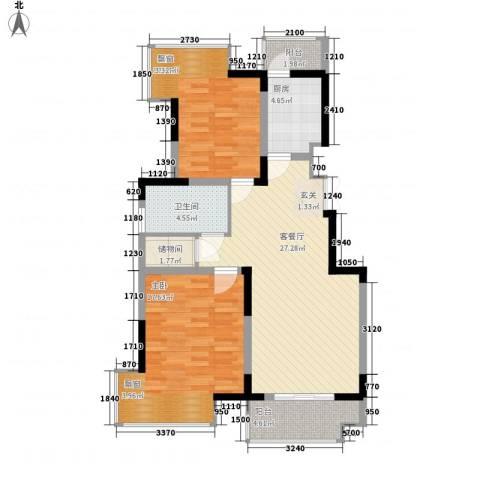 凤凰星城2室1厅1卫1厨75.41㎡户型图