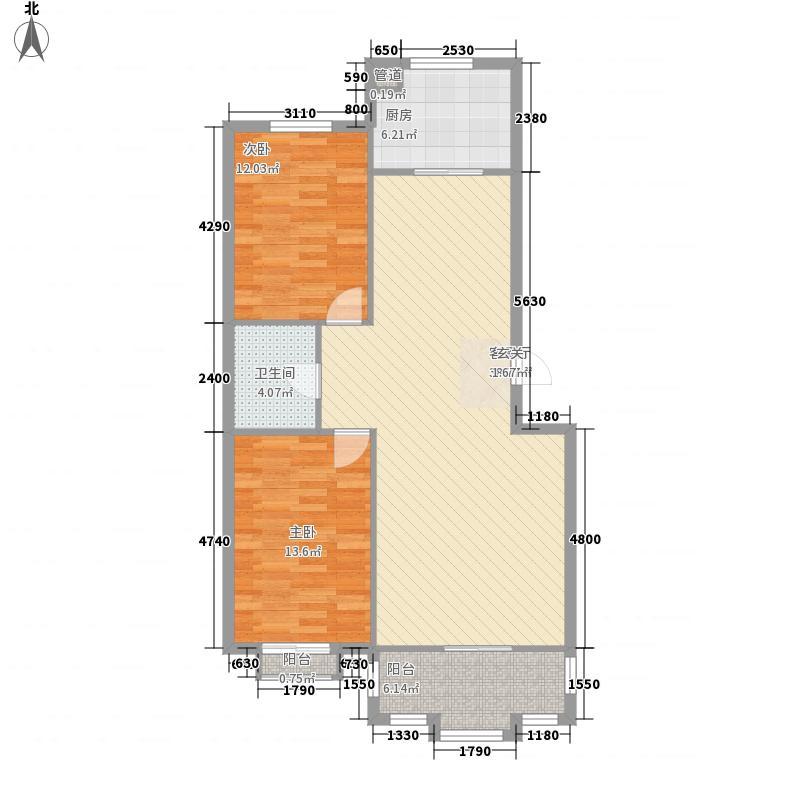 天庆嘉园B区星河缘112.00㎡B-2户型2室2厅1卫