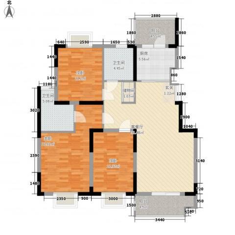 凤凰星城3室1厅2卫1厨128.00㎡户型图