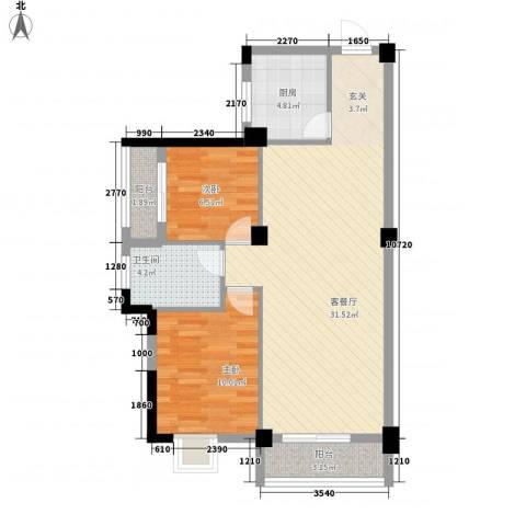 九坤翰林苑2室1厅1卫1厨91.00㎡户型图