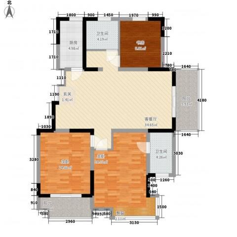 凤凰星城3室1厅2卫1厨99.88㎡户型图