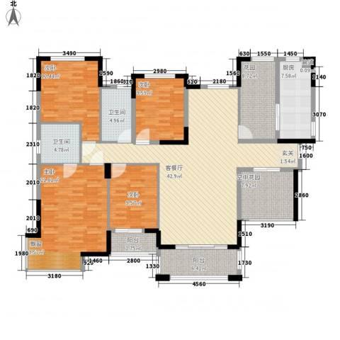 丰泰悦榕东岸4室1厅2卫1厨176.00㎡户型图