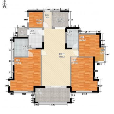 丰泰悦榕东岸3室1厅2卫1厨148.00㎡户型图