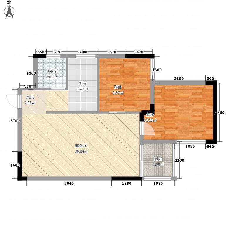桂林独秀苑8.20㎡1栋B户型2室2厅2卫1厨