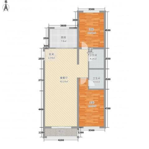 大唐天下江山2室1厅2卫1厨135.00㎡户型图