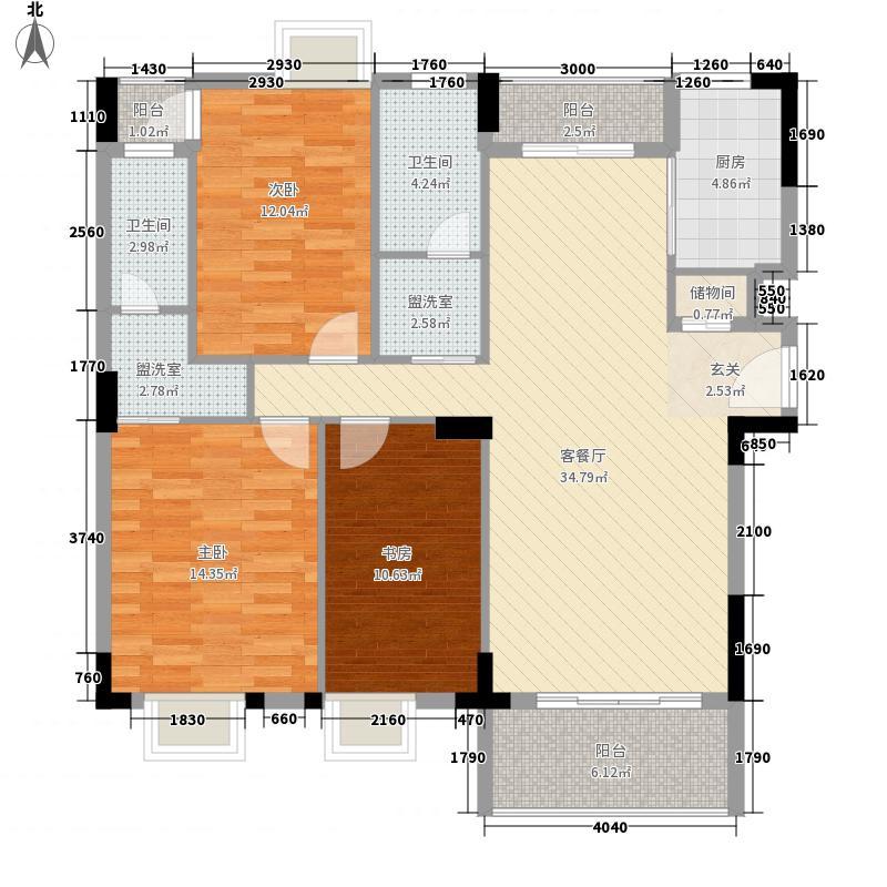 水岸菁华122.62㎡9#楼6户型3室2厅2卫1厨