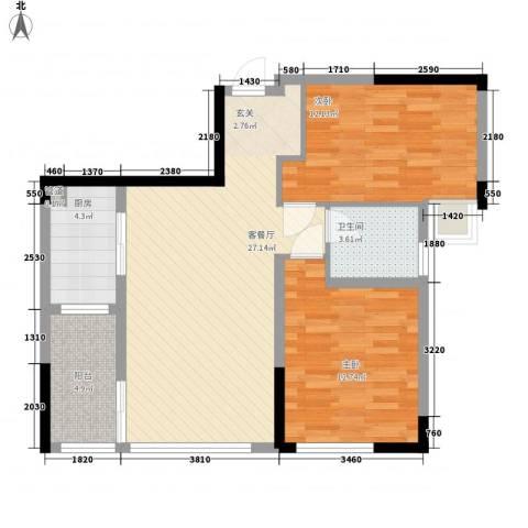 园景天下2室1厅1卫1厨155.00㎡户型图