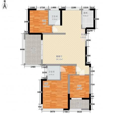 园景天下3室1厅2卫1厨155.00㎡户型图