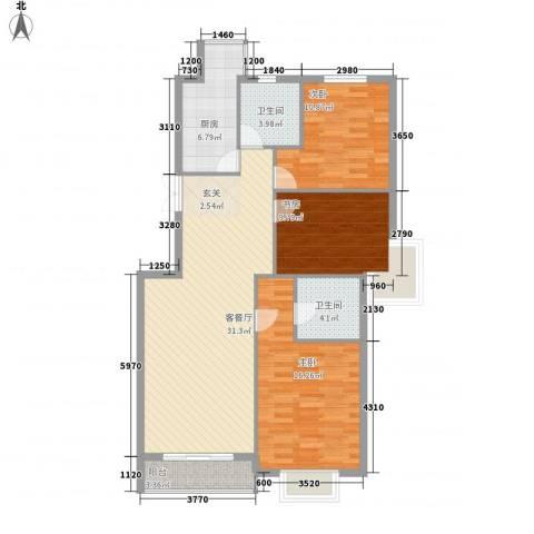 万众家园3室1厅2卫1厨128.00㎡户型图