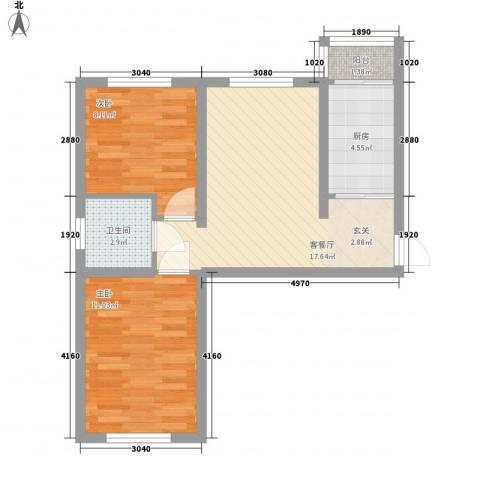 永畅美域2室1厅1卫1厨66.00㎡户型图