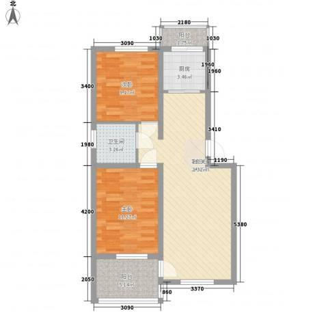 永畅美域2室1厅1卫1厨85.00㎡户型图
