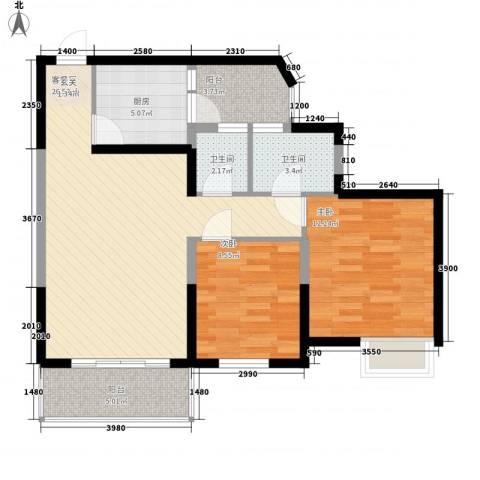 园景天下2室1厅2卫1厨163.00㎡户型图