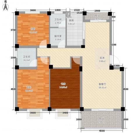德邦翠馨居3室1厅2卫1厨130.00㎡户型图