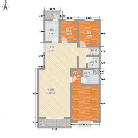 万众家园3室1厅2卫1厨140.00㎡户型图
