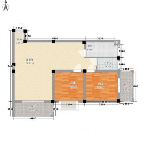 紫东公寓2室1厅1卫1厨86.00㎡户型图