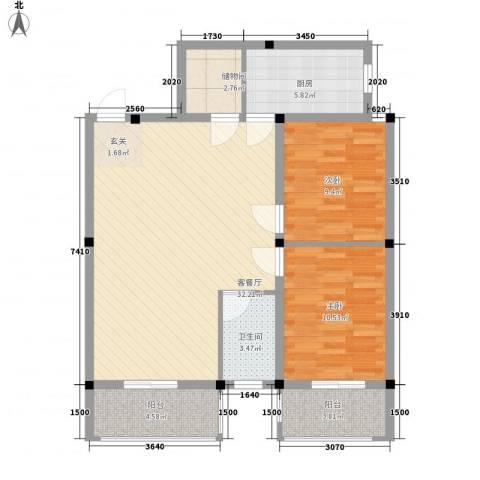 紫东公寓2室1厅1卫1厨85.00㎡户型图