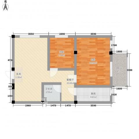 紫东公寓2室1厅1卫1厨75.00㎡户型图