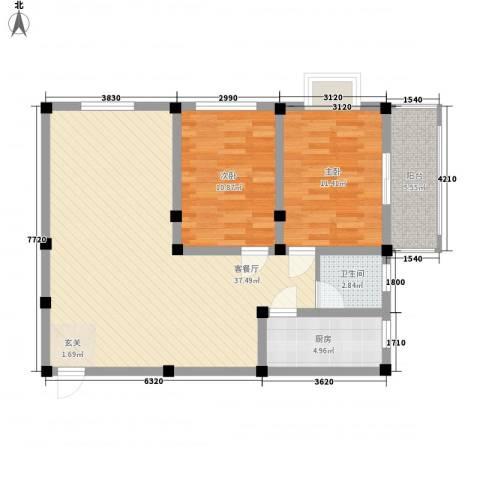 紫东公寓2室1厅1卫1厨74.00㎡户型图