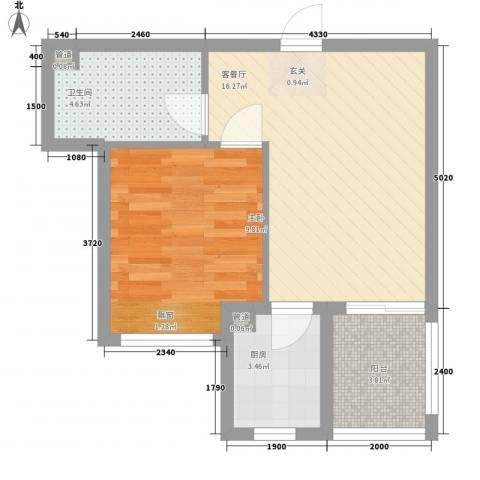 东泰花园富华苑1室1厅1卫1厨52.00㎡户型图