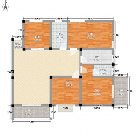 紫东公寓4室1厅2卫1厨120.00㎡户型图
