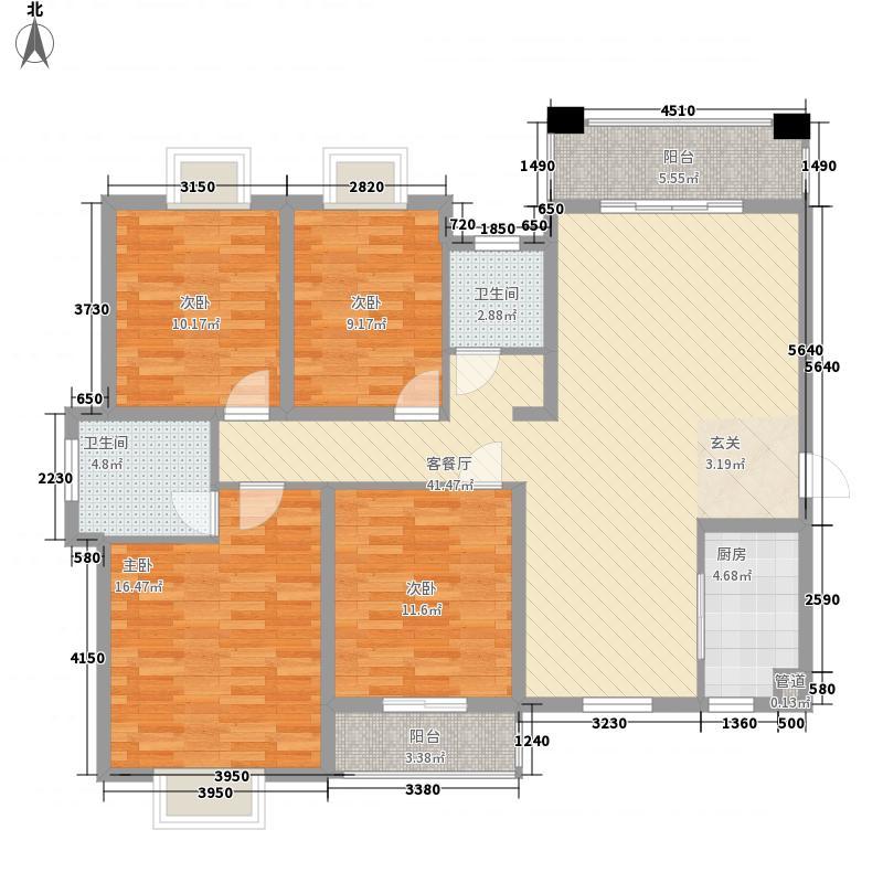 鼎盛骏景155.00㎡8#楼A户型4室2厅2卫1厨