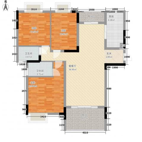 鸿翔湖景苑3室1厅2卫1厨128.00㎡户型图