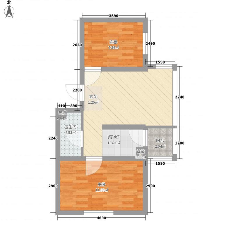华龙金城65.39㎡华龙金城户型图2室1厅1卫1厨户型10室