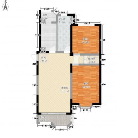 瑞南新苑2室1厅1卫1厨118.00㎡户型图