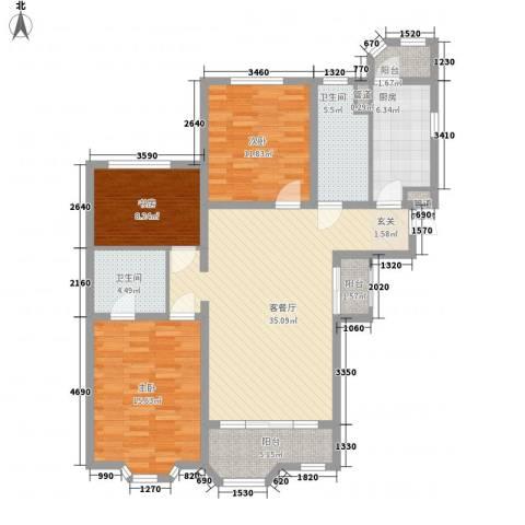 瑞南新苑3室1厅2卫1厨134.00㎡户型图