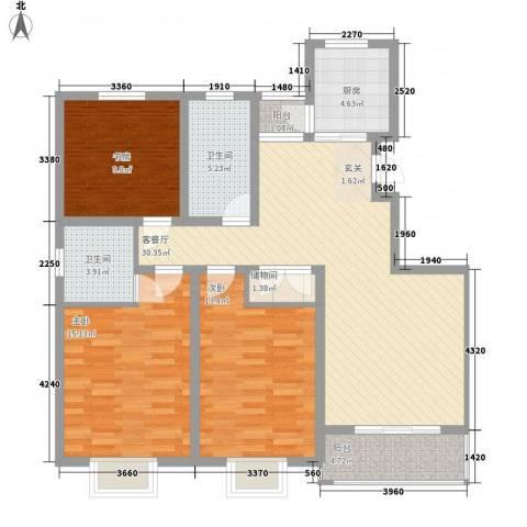 阳光世纪花园3室1厅2卫1厨130.00㎡户型图
