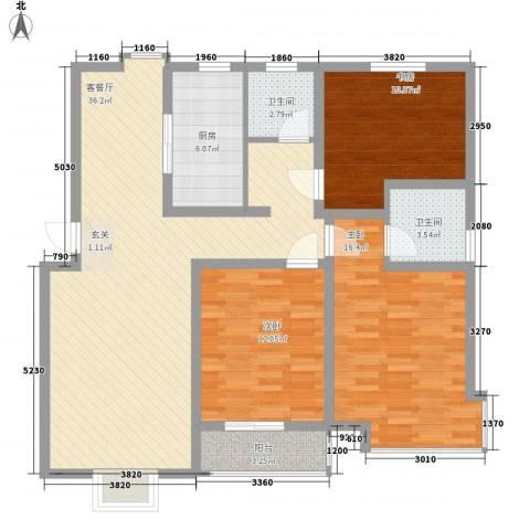 阳光世纪花园3室1厅2卫1厨131.00㎡户型图