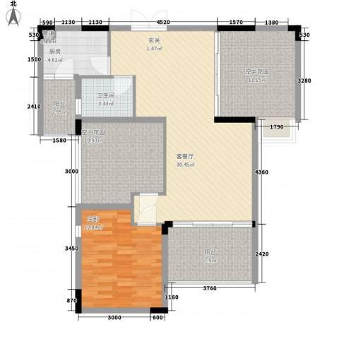 恒瑞蓝湾印象1室1厅1卫1厨84.45㎡户型图