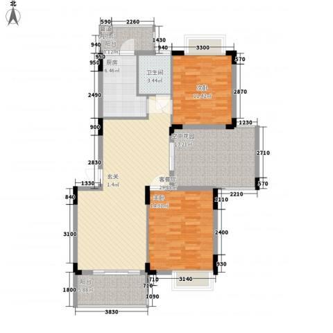 恒瑞蓝湾印象2室1厅1卫1厨87.89㎡户型图