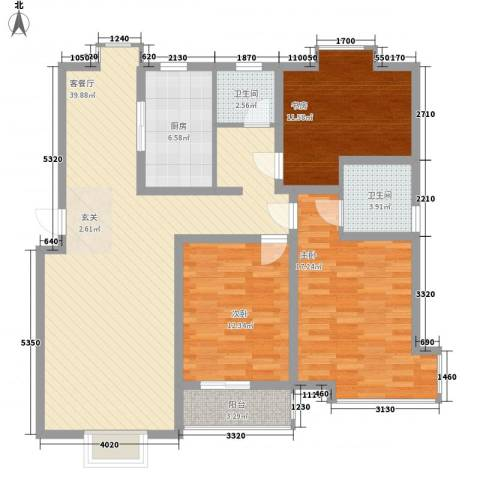 阳光世纪花园3室1厅2卫1厨139.00㎡户型图