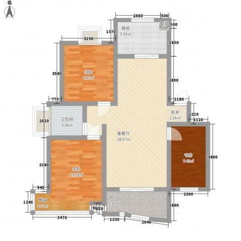 金典名筑3室1厅1卫1厨73.01㎡户型图