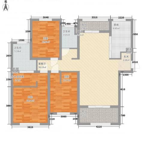金典名筑3室1厅2卫1厨146.00㎡户型图