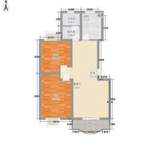 阳光世纪花园2室1厅1卫1厨102.00㎡户型图