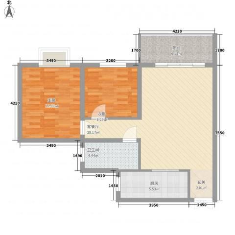 泉舜星园美第2室1厅1卫1厨93.00㎡户型图