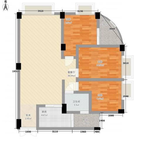 绿茵花园3室1厅1卫1厨78.11㎡户型图