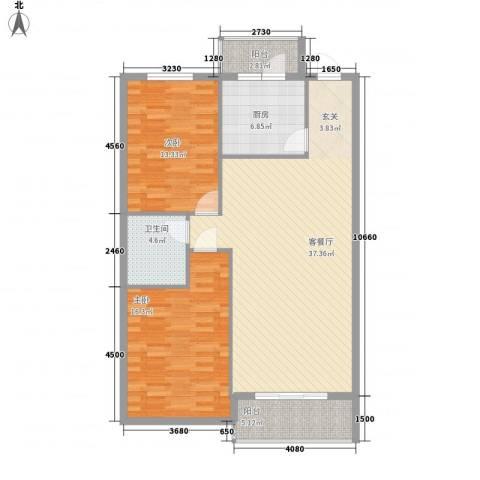 万众家园2室1厅1卫1厨119.00㎡户型图
