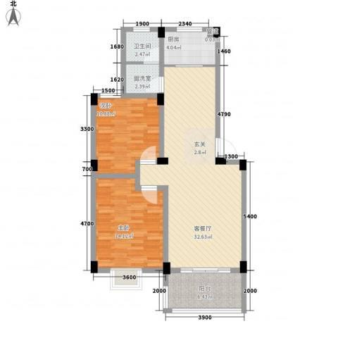 德邦翠馨居2室1厅1卫1厨90.00㎡户型图