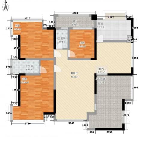 香山人家3室1厅2卫1厨143.00㎡户型图
