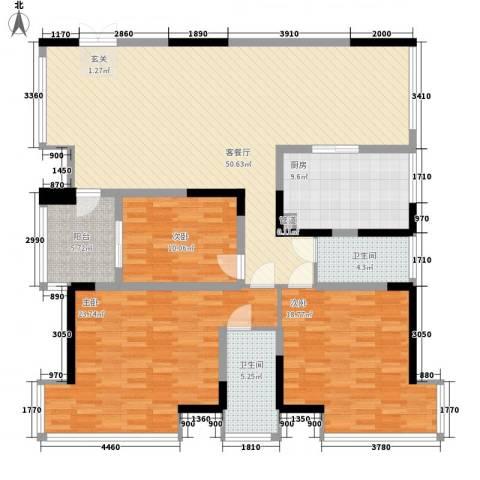 香山人家3室1厅2卫1厨135.00㎡户型图
