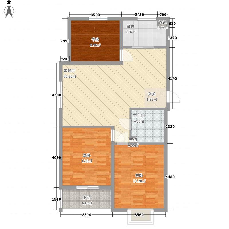 天弘家园西区116.10㎡D户型3室2厅1卫