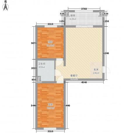 万盛凯二期2室1厅1卫1厨89.00㎡户型图