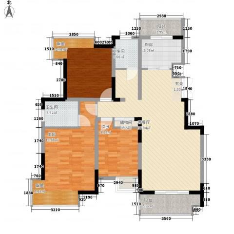 凤凰星城3室1厅2卫1厨121.00㎡户型图