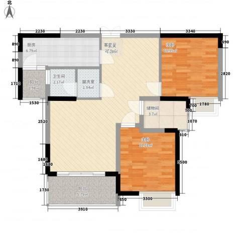 凤凰星城2室1厅1卫1厨70.20㎡户型图